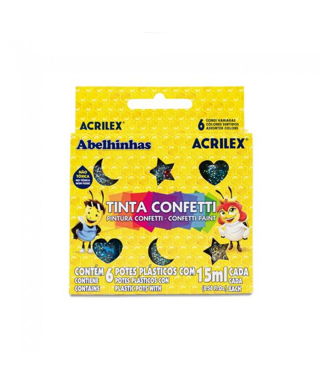 Tinta Confetti 6 cores Abelhinhas Acrilex