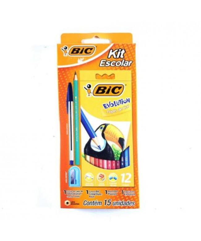 Lápis de cor Evolution kit com 12 lápis+caneta+apontador+lápis preto Bic