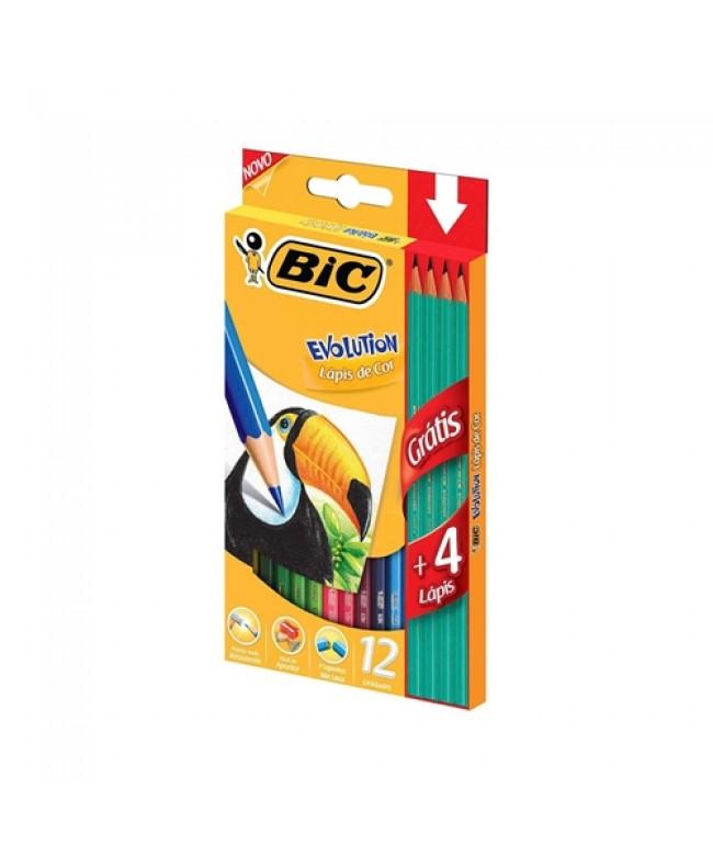 Lápis de cor Evolution 12 cores + 4 lápis preto HB nr.2 Bic