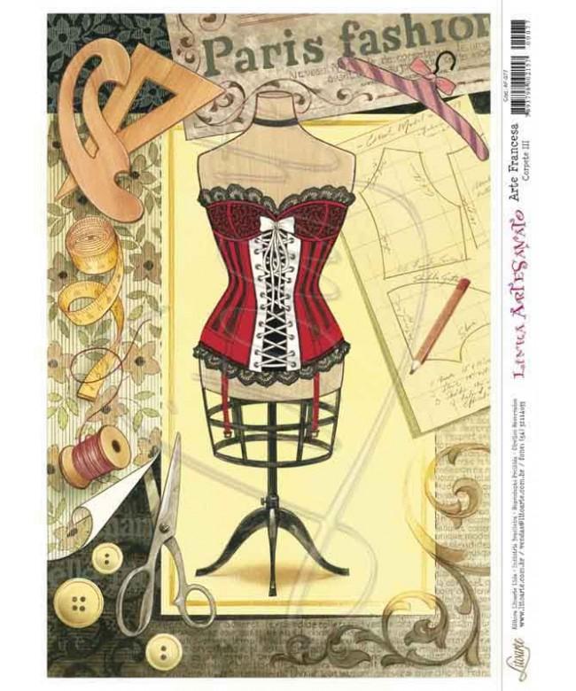 Papel Decoupage Arte Francesa Corpete lll - AF-077 ( 5 folhas )
