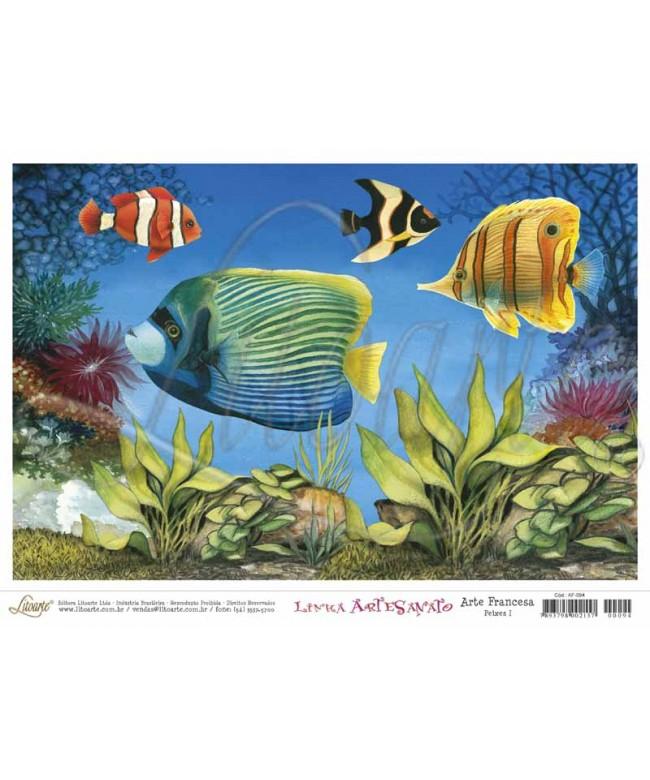 Papel Decoupage Arte Francesa Peixes I - AF-094 (5 folhas)