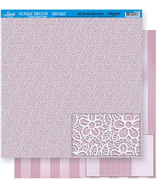 SCRAPBOOKING DUPLA FACE - FLORES RENDA / LISTRAS SD-380