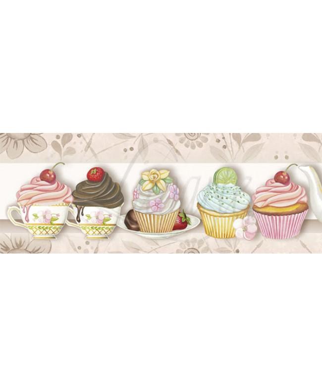 Barra adesiva IV - Cupcake/chá