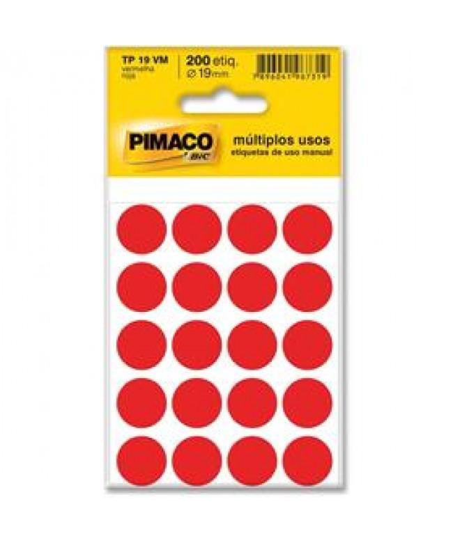 Etiqueta circulo vermelha 200 etiquetas 19mm - Pimaco